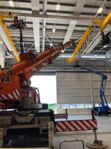 Using runner to fit gantry crane into ceiling