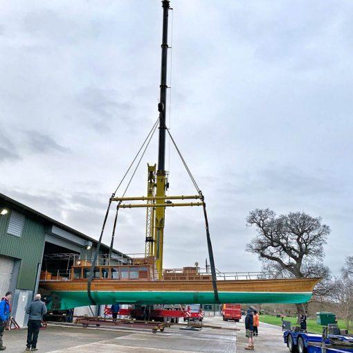 Windsor Belle, boat lift into maintenance shed