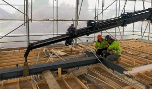 Crane fitting steel structural supports
